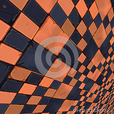 Distorted orange checkers