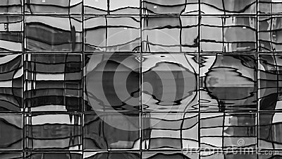 Distorted Windows Reflection - Black and White