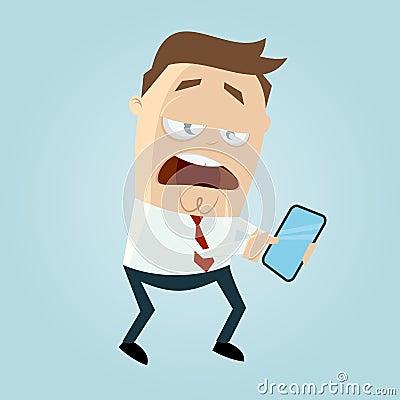 Distracted cartoon man is looking in his smart phone