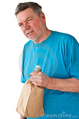 Distraught Mature Man with Booze