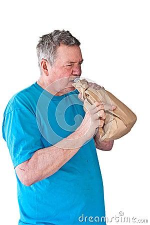 Distraught Mature Man Boozing