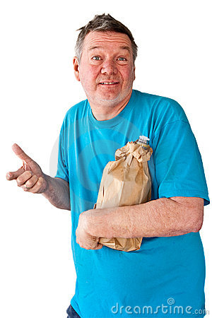 Free Distraught Mature Man With Bottle Of Booze Royalty Free Stock Photography - 8318897