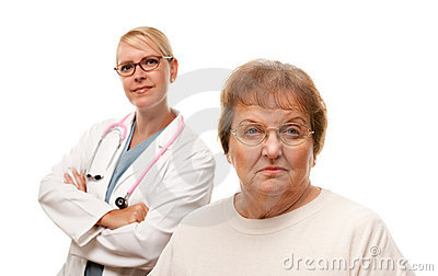 Distraught Senior Woman with Doctor Behind