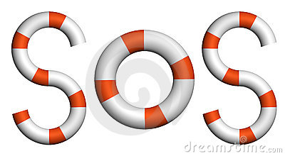 Distress signal SOS text by life buoy