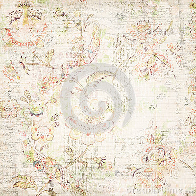 Distressed antique floral and text wallpaper