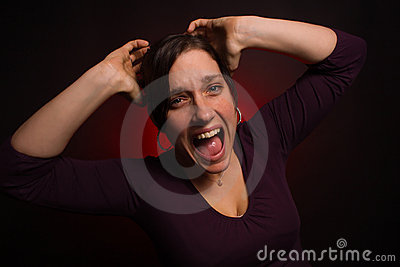 Distressed female model with PMS