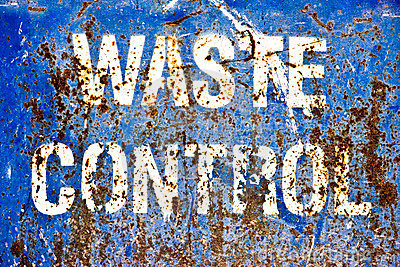 Distressed grunge metal waste control sign