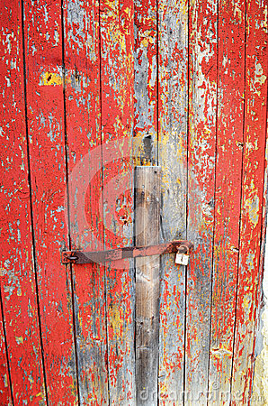 Distressed red painted door