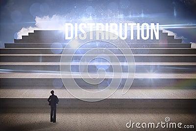 Distribution against steps against blue sky