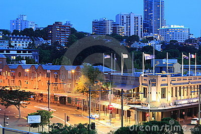 Sydney historic district at blue hour Editorial Stock Image