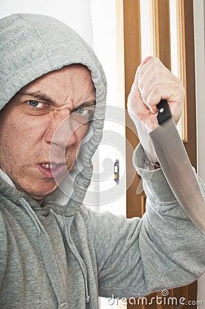 Disturbed violent burglar