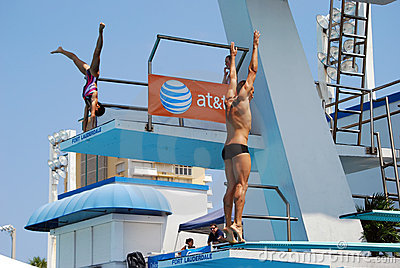 Dive Warmups Before the Finals Editorial Stock Photo