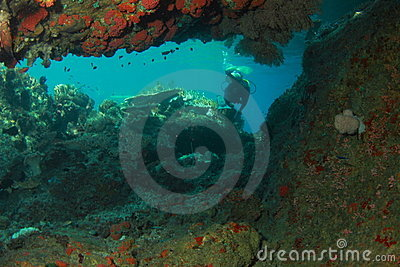 Diver behind the cave
