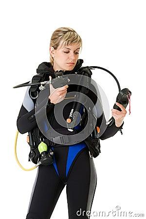 Diver checking pressure