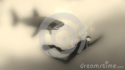Diver fleeing from a shark Sepia Stock Photo