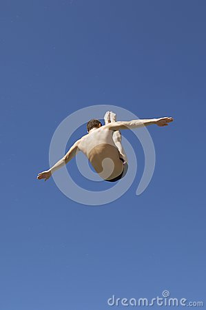 Free Diver In Midair Stock Photography - 29648972