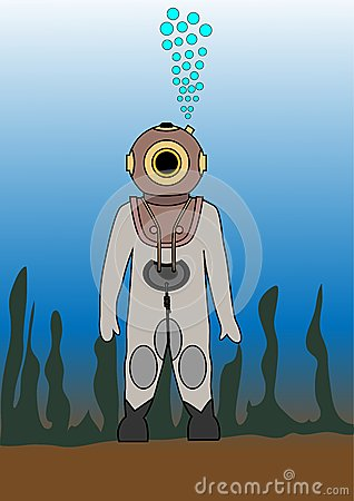 Diver in an old diving suit