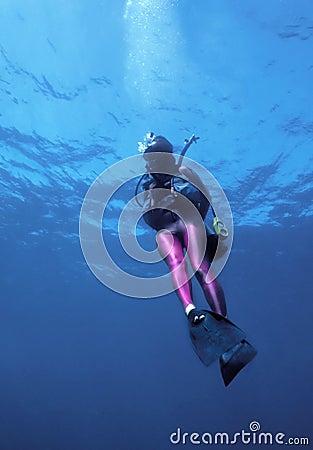 Diver in pink lycra