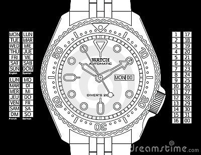 Diver s Watch - Black & White