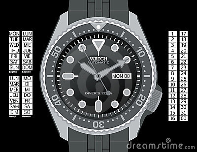Diver s Watch - Grayscale