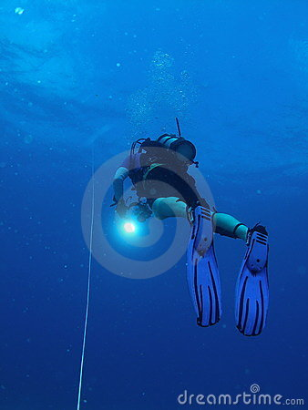 Diver at safety Stop