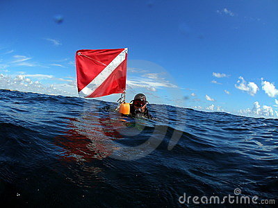 Diver at surface with dive flag