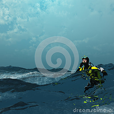 Diver at surface of sea