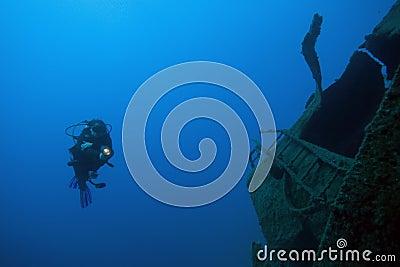 Diver underwater - deep water