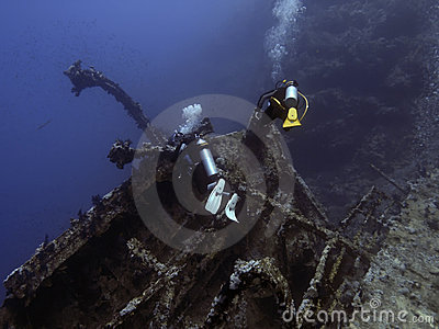 Diver and wreck