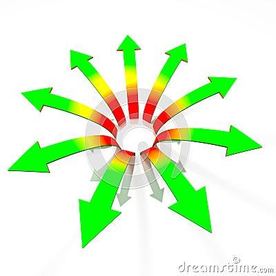 Divergent arrows concept