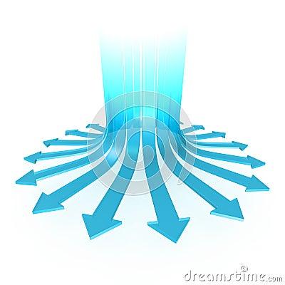 Diverging arrows
