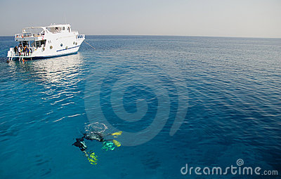 Divers and boat in the Red Sea