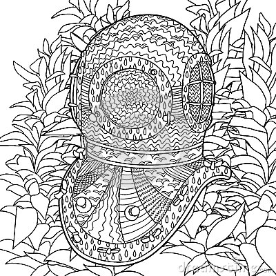 Divers helmet in coloring pages for adults stock vector for Adult coloring pages nautical