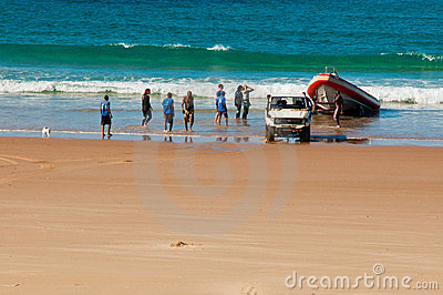 Divers returning from the Ocean Editorial Stock Image