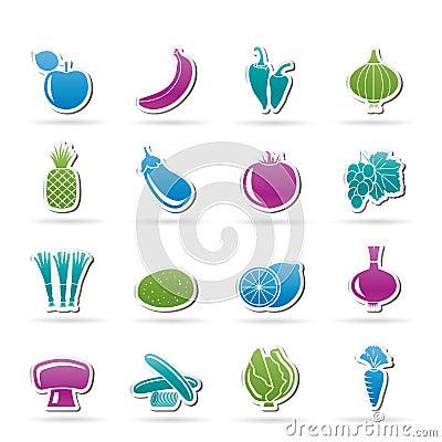 Diversa clase de iconos de la fruta y verdura