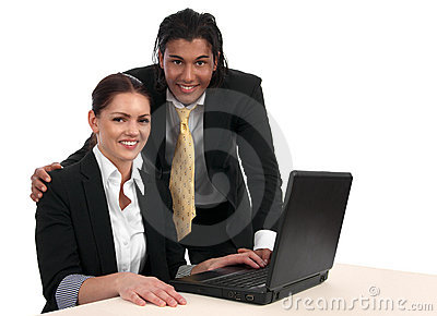 Diverse business mini team with laptop