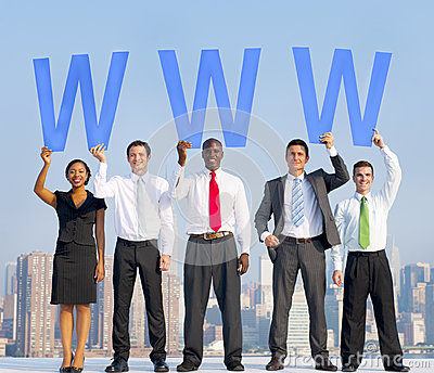 Diverse Business People Holding the Letters WWW