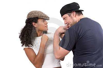 Diverse couple; Mock fight