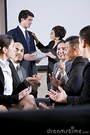 Diverse group of businesspeople conversing