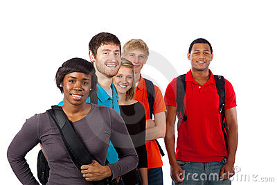 Diverse group of college students