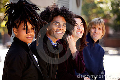 Diverse Group of Four Friends Relaxing Together
