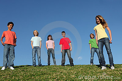 Diverse group kids or youth