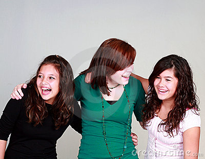 Diverse group of laughing girls