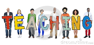 Diverse Group Of People Holding Text Teaching Stock Photo - Image ...