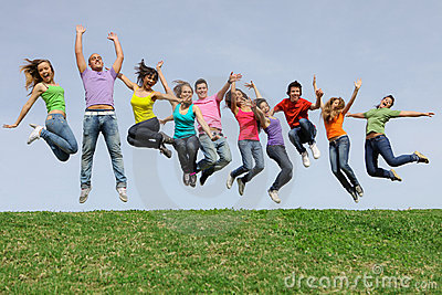 diverse Group teens, teenagers jumping
