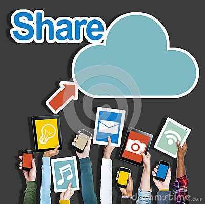 Free Diverse Hands Holding Digital Devices Cloud Networking Stock Images - 44686454