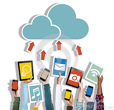 Free Diverse Hands Holding Digital Devices Cloud Networking Royalty Free Stock Images - 45367229