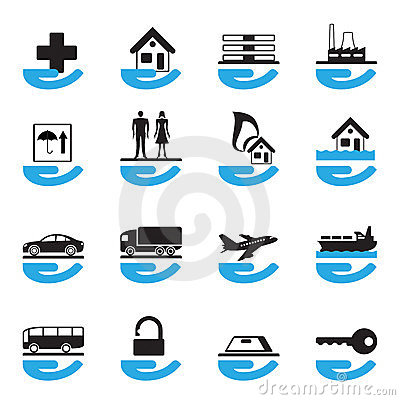 Diverse insurance icons set