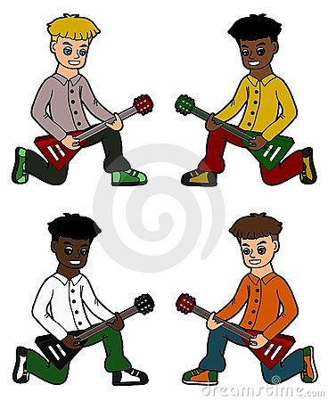 Diverse kid guitarists collection
