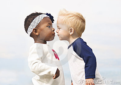 Diverse Little Kids First Kiss